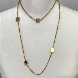 """TORY BURCH BLOCK T-LOGO ROSARY NECKLACE 40"""" Gold"""
